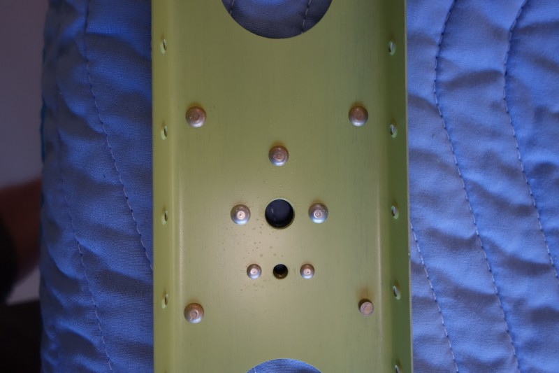 Rudder doubler plate, with plate nut for grounding strap, and one rivet backwards.